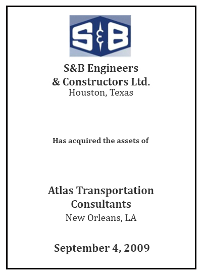 S&B Engineers Has acquired the assets of Atlas Transportation Cons.